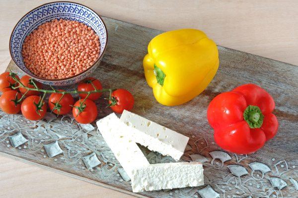 Zutaten für vegetarisch gefüllte Paprika