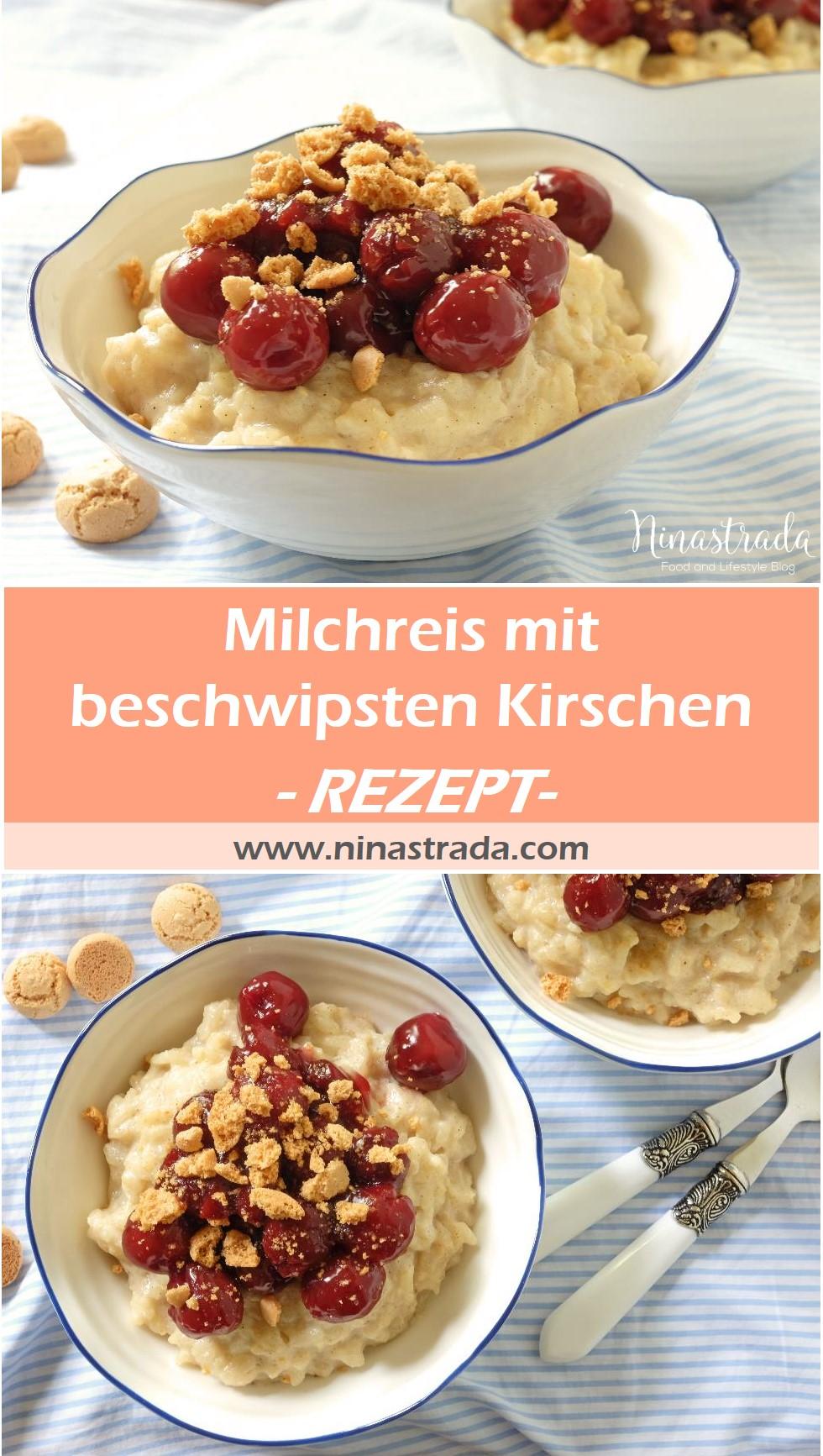 Rezept für Milchreis mit beschwipsten Kirschen. Mit Amaretto und Amarettini habe ich das Rezept aus meiner Kindheit aufgepeppt.