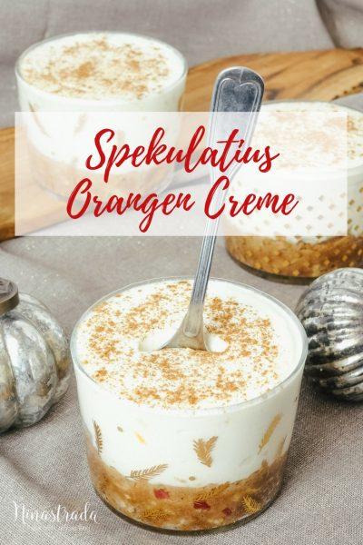 Nachspeise im Glas für Weihnachten: Orangen-Spekulatius-Creme.