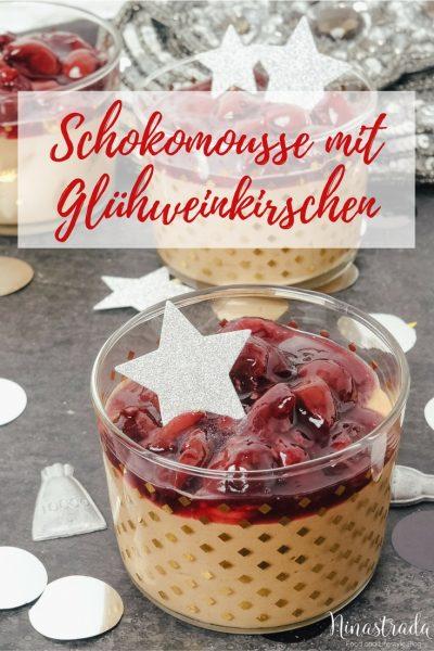 Rezept: Nachtisch für Silvester im Glas: Schokoladenmousse mit Glühweinkirschen