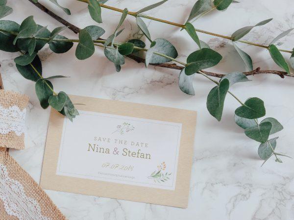 Save the Date zur Hochzeit mit Eukalyptus Deko