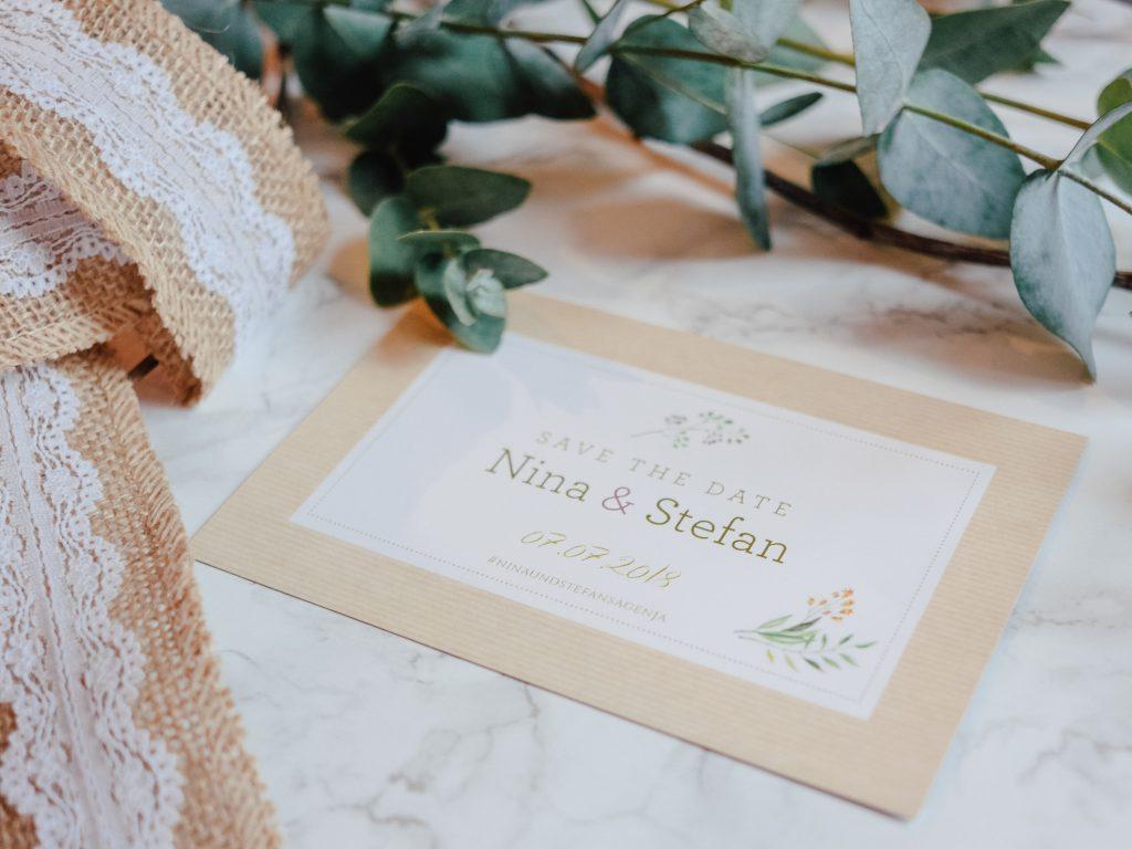 Hochzeit Save The Date Karten Deko Eukalyptus Ninastrada