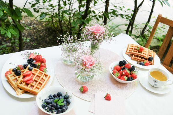 Muttertag Frühstück Rezept für gesunde Waffeln ohne Zucker