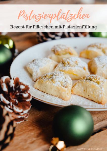 Plätzchen Rezept für Weihnachten: Pistazienplätzchen mit Pistazien-Mandel-Füllung