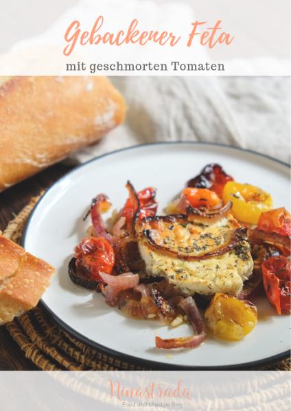 Einfaches Tapas rezept griechisch gebackener Feta Käse mit geschmorten Tomaten und Zwiebeln 6