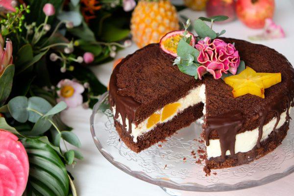 Pfirsich Kuchen mit Mascarpone Creme