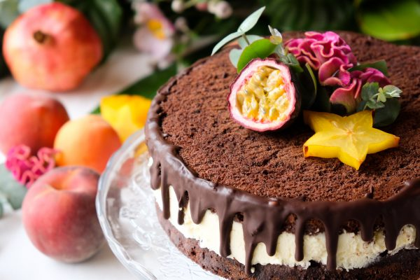 Torte, Kuchen Naked Cake, Drip Cake, Tropical Party, Schoko Pfirsich Torte
