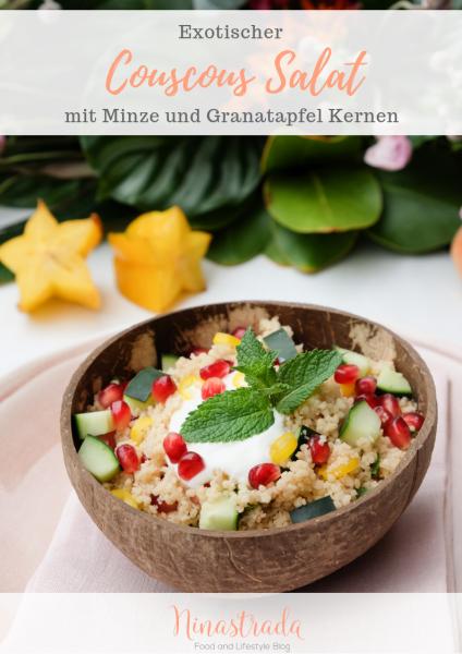 Tropical Party Exotischer Couscous Salat mit Granatapfel Kernen und Minze Pinterest