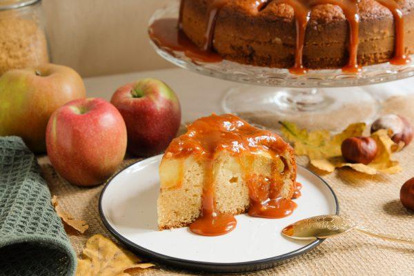 Apfelkuchen Rezept mit gesalzenem Karamell