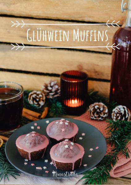 Schokoladige Glühwein Muffins mit Schoko Stückchen und rosa Zuckerguss