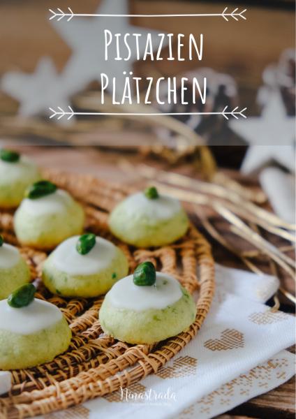 Pistazien-Plätzchen mit Zitrone, dekoriert mit Pistazie