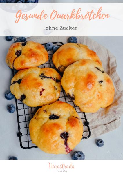 Rezept für gesunde Blaubeer-Quarkbrötchen ohne Zucker
