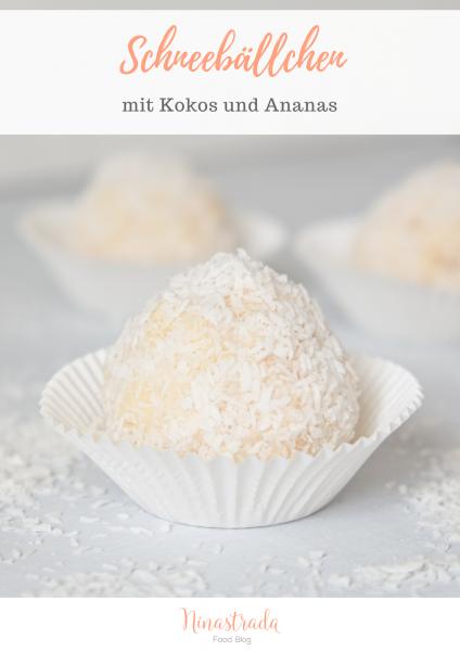 Rezept für Party Fingerfood: Kokos-Schneebällchen mit Ananas