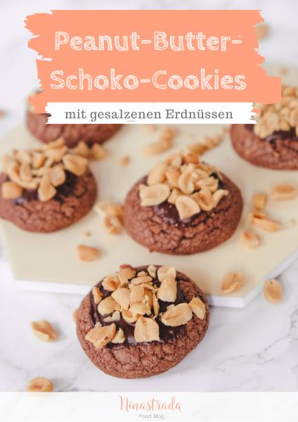 Rezept: Peanut-Butter-Schoko-Cookies mit Erdnussbutter und gesalzenen Erdnüssen