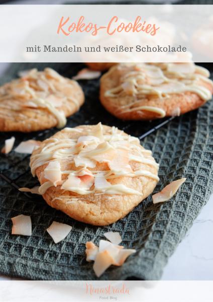 Kokos-Cookies mit Mandeln und weißer Schokolade