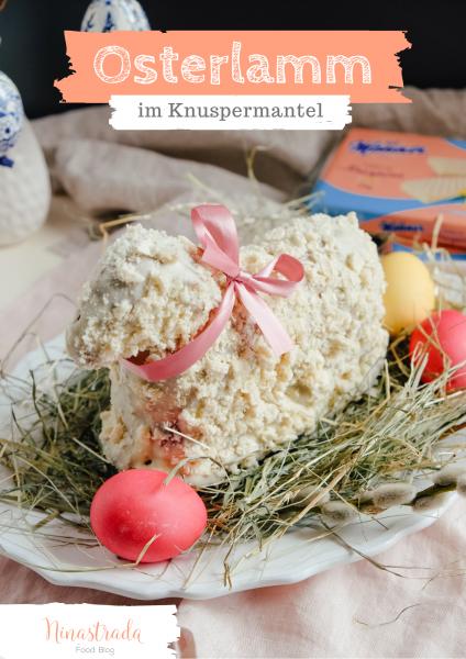 Osterlamm im Knuspermantel mit weißer Schokolade und Manner Knuspino Vanille