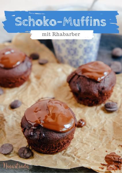 Saftige Rhabarber-Muffins mit viel Schokolade